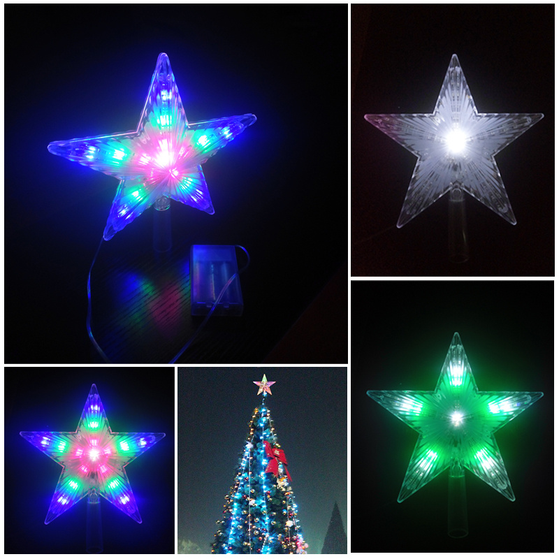 Christmas Tree 3d Star Topper Light Up Battery Operated