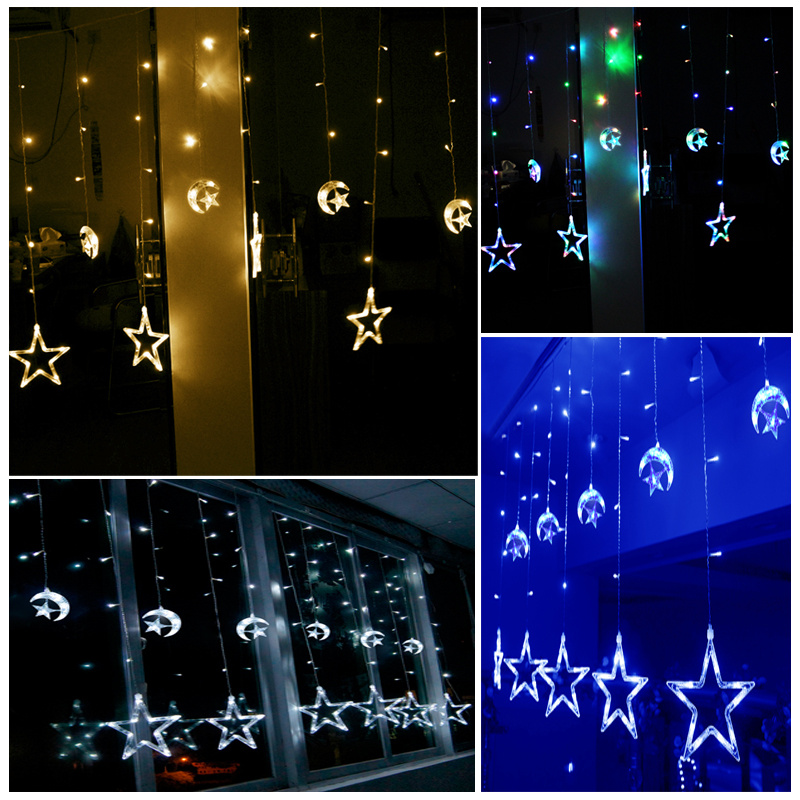 48 LED Moon & Star String Fairy Lights For Xmas Christmas Curtain Window Display eBay